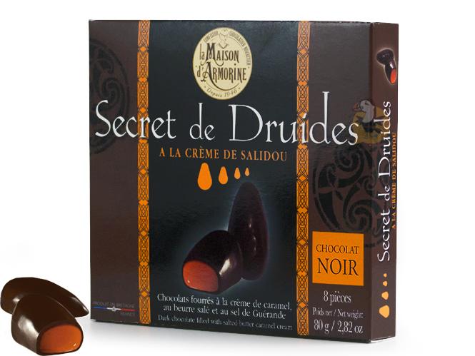 Chocolats noirs fourrés au caramel beurre salé Secrets des Druides
