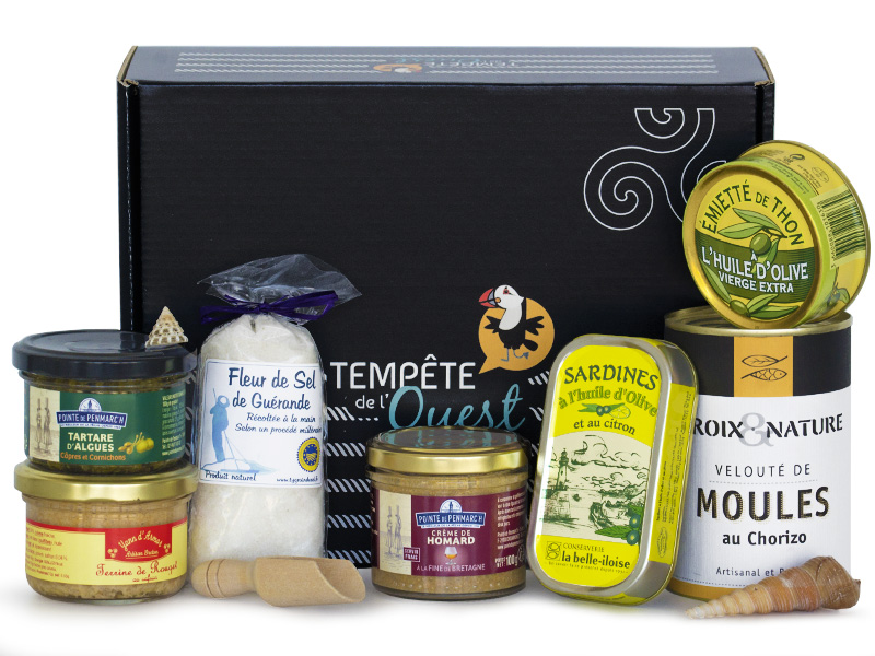 Panier gourmand produits de la mer bretons