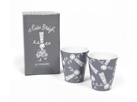 Coffret 2 mugs expresso Gris A l'Aise Breizh