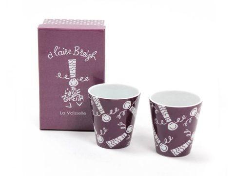 Coffret 2 mugs expresso Prune A l'Aise Breizh