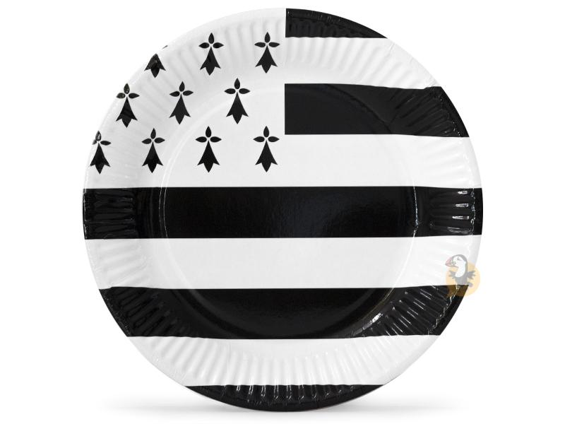 Assiette carton noires et blanche