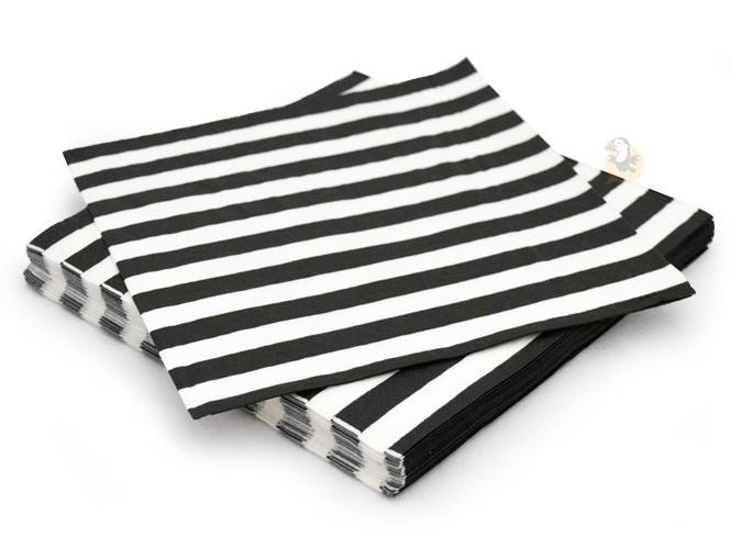serviette en papier rayures noires blanches marini re. Black Bedroom Furniture Sets. Home Design Ideas