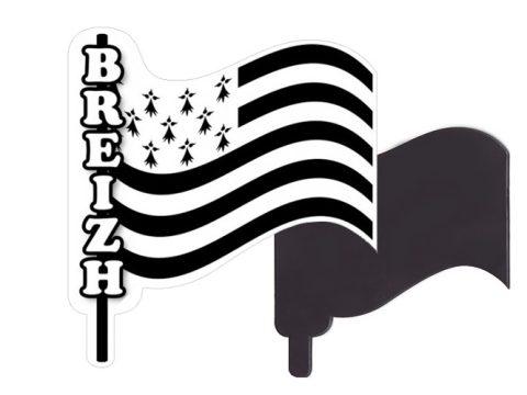 Magnet drapeau breton sur mat