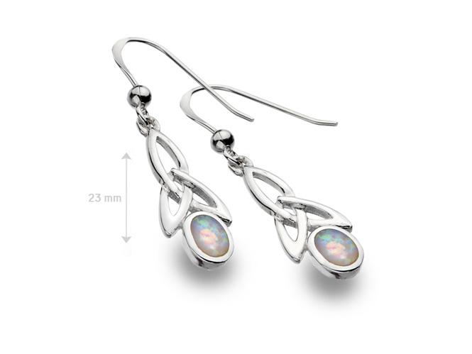 Boucles d'oreilles Noeud celtique et pierre opaline