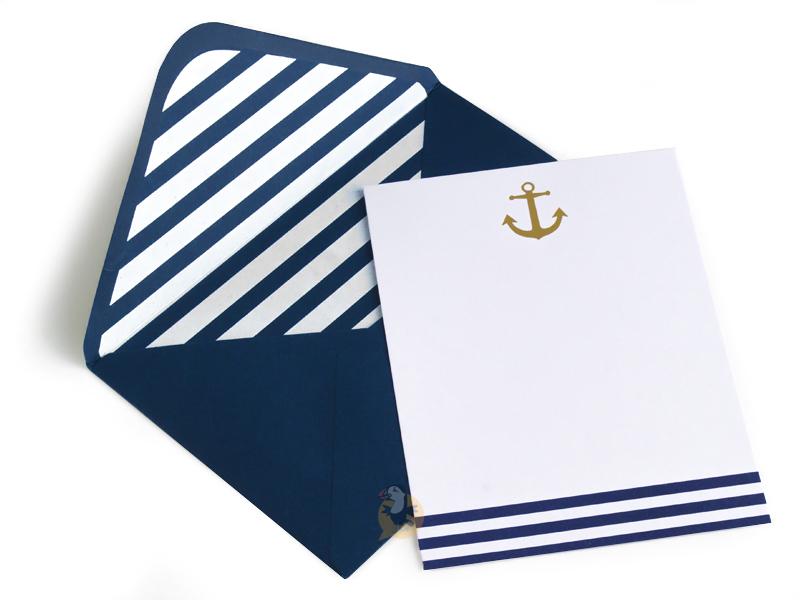 Nouveau ⇒ Invitation - Faire-part Marinière & ancre dorée - 10 OT-97