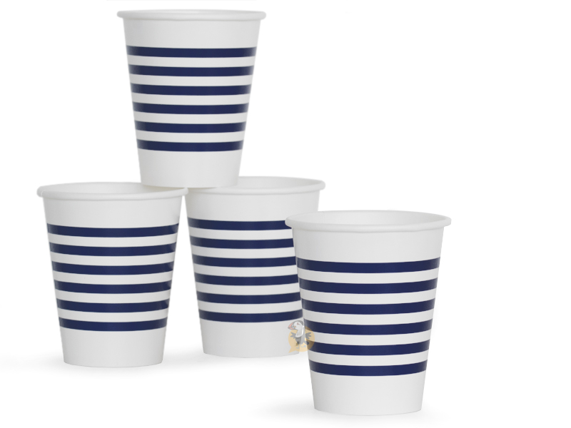 8 gobelets marinière en carton