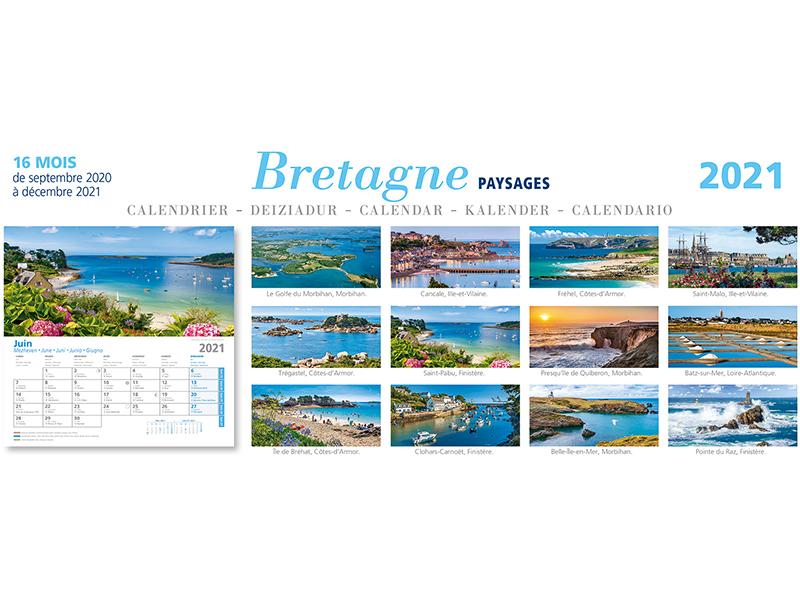 ⇒ Calendrier Breton Mural 2020 2021   Paysages de Bretagne 30 x 15 cm